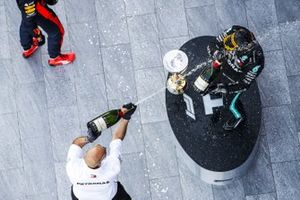 Valtteri Bottas, Mercedes-AMG F1, 1st position, celebrates on the podium with his team mate