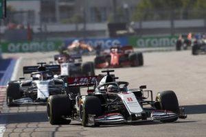 Romain Grosjean, Haas VF-20, Daniil Kvyat, AlphaTauri AT01, and Antonio Giovinazzi, Alfa Romeo Racing C39