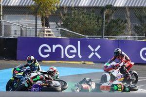 Crash Niccolo Canepa, LCR E-Team, Xavier Simeon, LCR E-Team, Dominique Aegerter, Dynavolt Intact GP