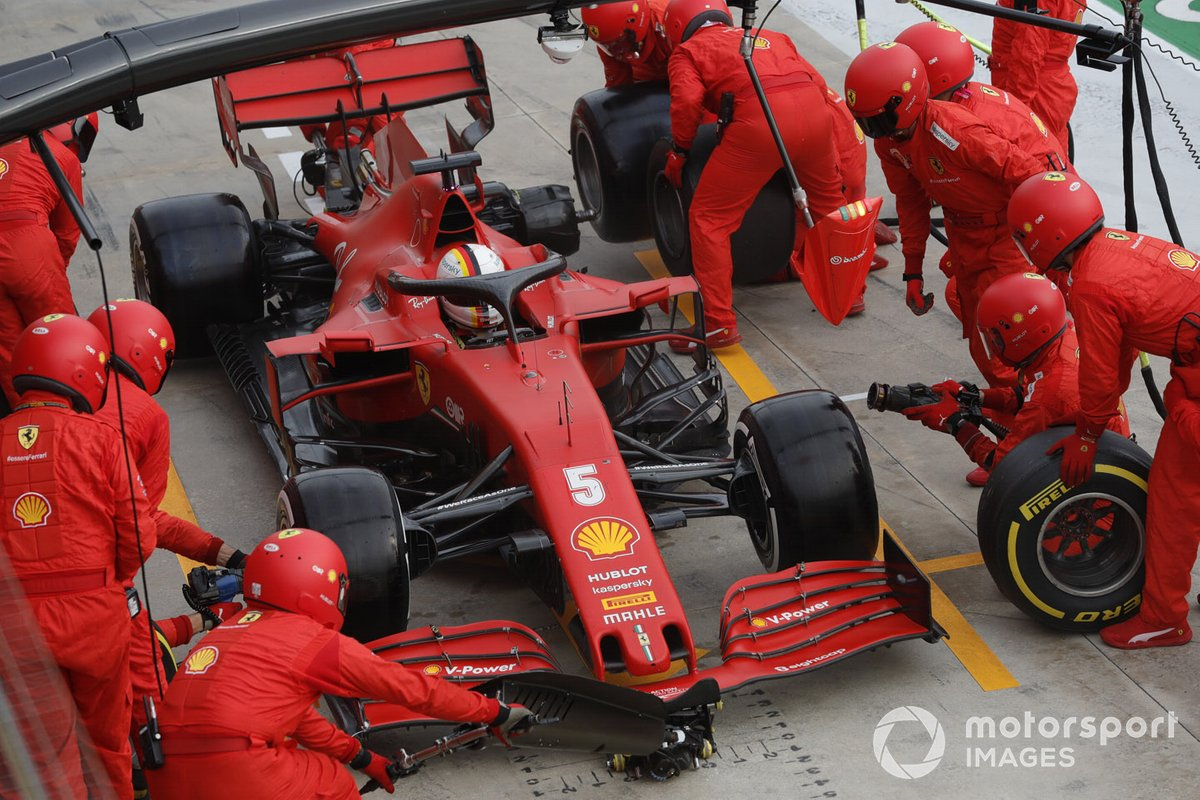 Sebastian Vettel, Ferrari SF1000, makes a stop