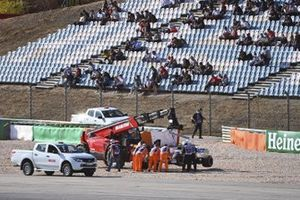Marshals remove the car of Lance Stroll, Racing Point RP20, after his crash with Max Verstappen, Red Bull Racing RB16
