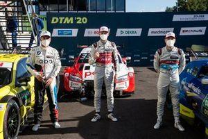 Top 3 after Qualifying: Pole sitter René Rast, Audi Sport Team Rosberg, Timo Glock, BMW Team RMG, Robin Frijns, Audi Sport Team Abt Sportsline