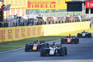 Christian Lundgaard, ART Grand Prix, Jehan Daruvala, Carlin, and Nobuharu Matsushita, MP Motorsport, take the chequered flag