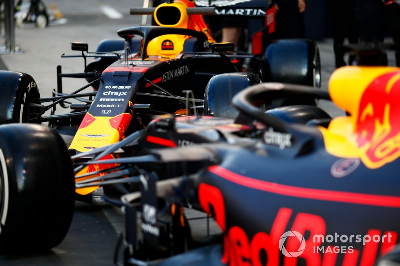 The Alexander Albon Red Bull RB15, and Max Verstappen Red Bull Racing RB15