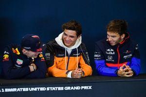 Press conference, Max Verstappen, Red Bull Racing, Lando Norris, McLaren and Pierre Gasly, Toro Rosso
