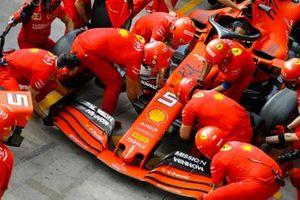 Ferrari pit stop practice with the Ferrari SF90