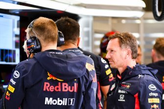 Alexander Albon, Red Bull Racing, talks to Christian Horner, Team Principal, Red Bull Racing