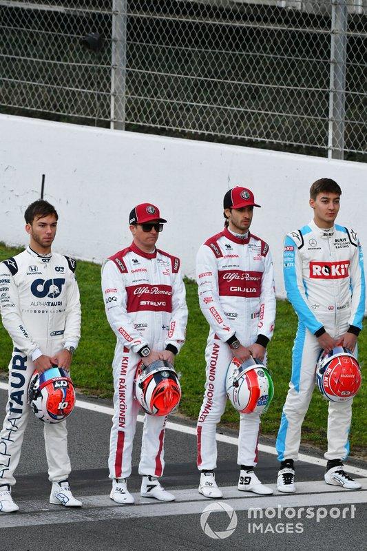 Pierre Gasly, AlphaTauri, Kimi Raikkonen, Alfa Romeo, Antonio Giovinazzi, Alfa Romeo and George Russell, Williams Racing