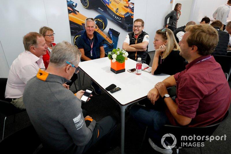 Mclaren Press briefing with Andreas Seidl, Team Principal, McLaren, Christian Danner, Martin Brundle, Martyn Pass Jack Nicholls, Jennie Gow