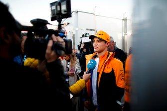 Lando Norris, McLaren speaks to the media