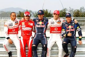Lewis Hamilton, McLaren, Fernando Alonso, Ferrari, Mark Webber, Red Bull Racing, Jenson Button, McLaren and Sebastian Vettel, Red Bull Racing