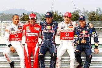 Lewis Hamilton, McLaren, Fernando Alonso, Ferrari, Mark Webber, Red Bull Racing, Jenson Button, McLaren and Sebastian Vettel, Red Bull Racing
