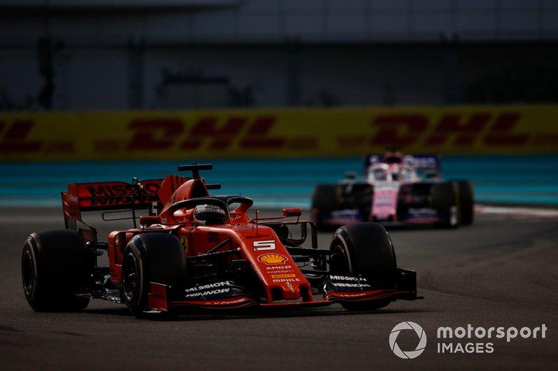 Sebastian Vettel, Ferrari SF90, Sergio Pérez, Racing Point RP19
