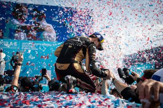 Antonio Felix da Costa, DS Techeetah, 2nd position, celebrates with his team on the podium