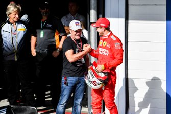 Rubens Barrichello and Sebastian Vettel, Ferrari celebrates in Parc Ferme