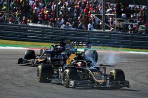 Kevin Magnussen, Haas VF-19 Team, leads Romain Grosjean, Haas VF-19 Team