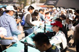 Mario Dominguez, Jaguar VIP car signs autographs for fans