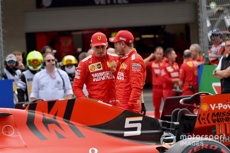 Charles Leclerc, Ferrari, and Sebastian Vettel, Ferrari, congratulate each other after Qualifying