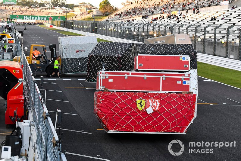 Ferrari equipment is packed away ready for shipping