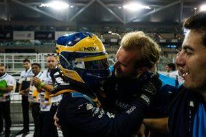 Sergio Sette Camara, Dams, celebrates feature race victory in parc ferme