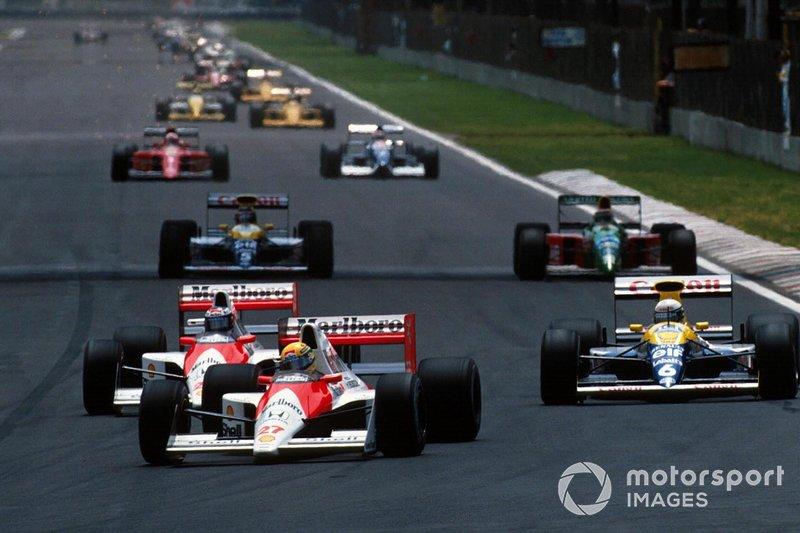 Ayrton Senna, McLaren, Gerhard Berger, McLaren, Ricardo Patrese, Williams, al GP del Messico del 1990