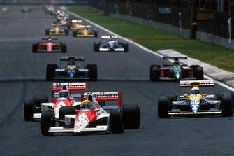 Ayrton Senna, McLaren MP4/5B, Gerhard Berger, McLaren MP4/5B, Riccardo Patrese, Williams FW13B