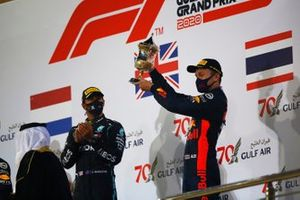 Alex Albon, Red Bull Racing, 3rd position, receives his trophy