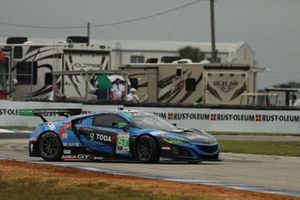 #57 Heinricher Racing w/MSR Curb-Agajanian Acura NSX GT3, GTD: Joey Hand, Misha Goikhberg, Trent Hindman spins on cold tires