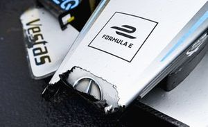 The damaged nose of Stoffel Vandoorne, Mercedes-Benz EQ, EQ Silver Arrow 02, 3rd position, in Parc Ferme