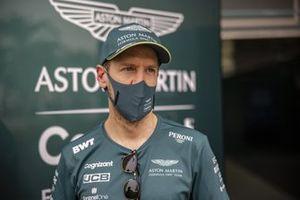 Sebastian Vettel, Aston Martin, talks to the media