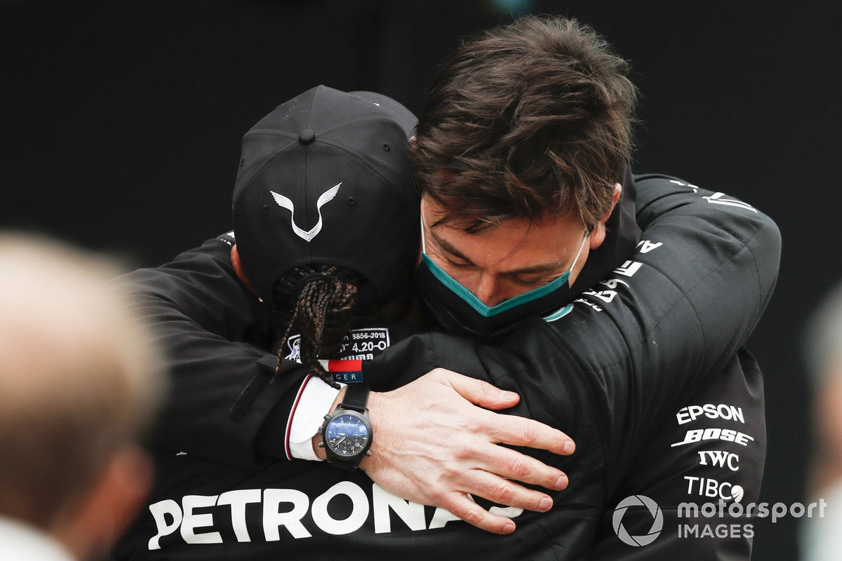 Lewis Hamilton, Mercedes-AMG F1, 1st position, and Toto Wolff, Executive Director (Business), Mercedes AMG celebrate in Parc Ferme