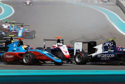 Alex Palou, Campos Racing, leads Giuliano Alesi, Trident & Arjun Maini, Jenzer Motorsport