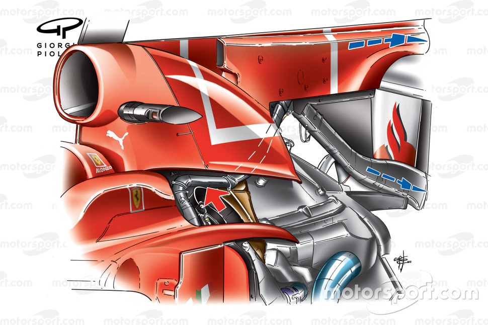 Ferrari F10 'F-Duct' internal pipework