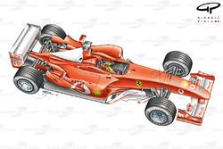 Vue de 3/4 de la Ferrari F2003-GA