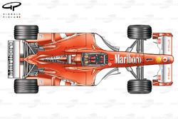 Vue de dessus, déflecteurs différent de la Ferrari F2003-GA