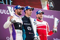 Jose Maria Lopez, DS Virgin Racing, Sébastien Buemi, Renault e.Dams, et Nick Heidfeld, Mahindra Racing, sur le podium
