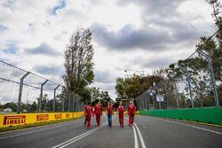 Sebastian Vettel, Ferrari walks the track with team members