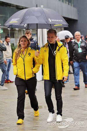 Kevin Magnussen, Renault Sport F1 Team with Aurelie Donzelot, Renault Sport F1 Team Media Communications Manager