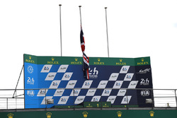 A Union Jack flag on the podium in honor of terrorist attack victims in London