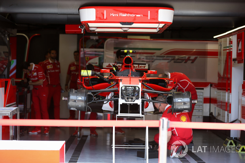 ferrari sf70h in the garage at canadian gp on june 08th 2017