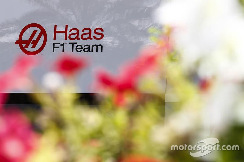 Haas F1 Team Team logo in the paddock