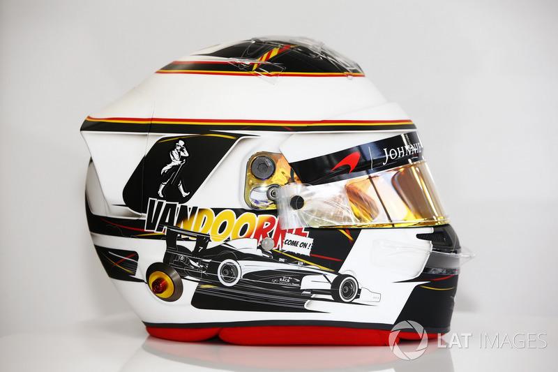Casque spécial de Stoffel Vandoorne, McLaren, pour son GP à domicile