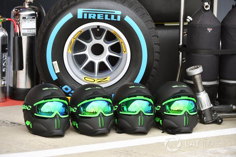 Mercedes AMG F1 mechanics helmets