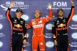 Polesitter Sebastian Vettel, Ferrari, second place Max Verstappen, Red Bull Racing, third place Dani