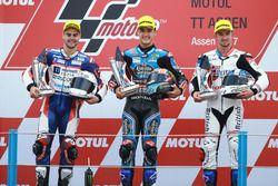 Podium: second place Romano Fenati, Marinelli Rivacold Snipers, Race winner Aron Canet, Estrella Gal