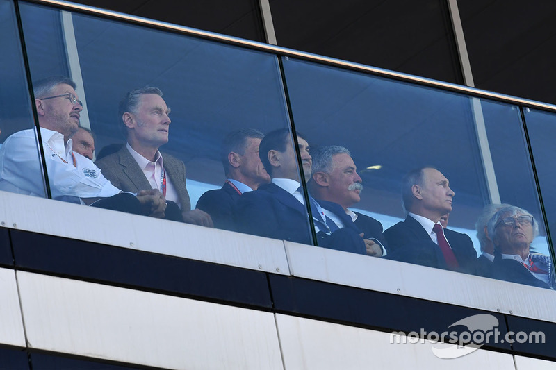 Ross Brawn, Formula One Managing Director of Motorsports, Sean Bratches, Formula One Managing Director, Commercial Operations, Chase Carey, Chief Executive Officer and Executive Chairman of the Formula One Group, Vladimir Putin, President of Russia and Bernie Ecclestone