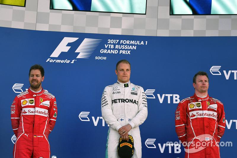 4º Podio del GP de Rusia 2017 - 2º Sebastian Vettel, Ferrari; 1º Valtteri Bottas, Mercedes; 3º kimi Raikkonen, Ferrari