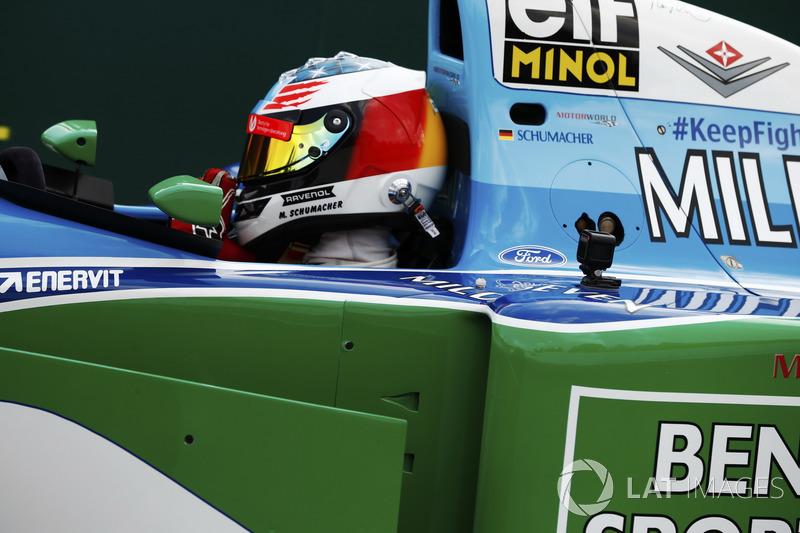 Mick Schumacher drives a Benetton B194