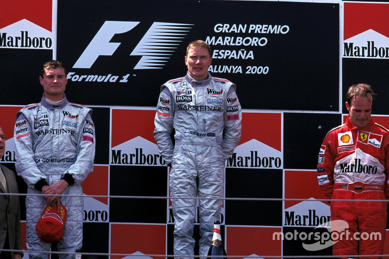 2000: 1. Mika Hakkinan, 2. David Coulthard, 3. Rubens Barrichello