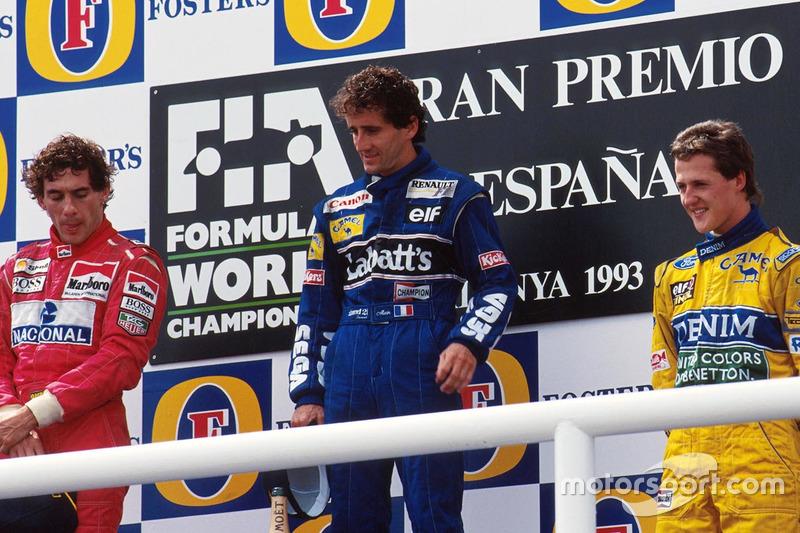 Foi no GP da Espanha de 1993 que pela única vez um pódio reuniu Alain Prost, Ayrton Senna e Michael Schumacher, somando ao todo 14 títulos mundiais.